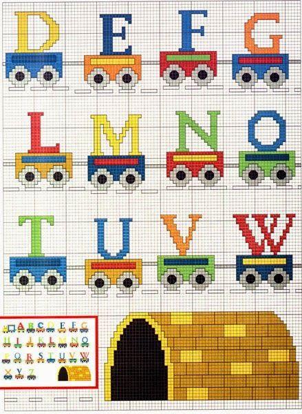 Cross-stitch Train ABCs, part 2... Alfabeto con trenes para punto de cruz.