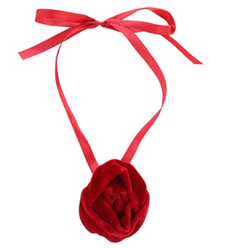 The Rose Corsage necklace features a full rose bloom hand crafted and stitched in luxurious velvet on a silken ribbon.