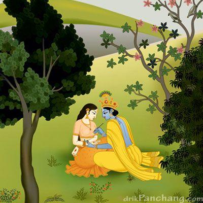 Krishna decorating palm of Radharani - miniature painting showing Krishna putting henna in hands of his lover Radha
