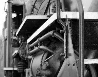 Steam train, steam locomotive, train decor, black and white photography, industrial wall art, train photos, retro trains, fine art print