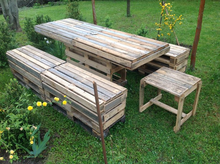 Backyard Table Ideas : Pallet Garden Table & Bench  Garden Table, Benches and Pallets Garden