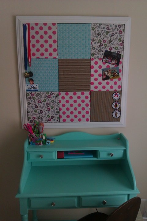 this was an old dark brown desk i repainted to match big girl bedroom i copied the board from pottery barn kids too
