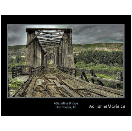 The Atlas Mine Bridge at Drumheller, AB (being made as a post card)