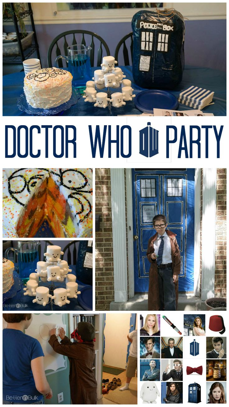 How To Throw An Epic Doctor Who Party for Kids - from Doctor Who cake ideas to fun adipose marshmallow treats to a TARDIS pinata and a free printable Doctor Who game and more!