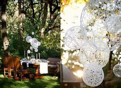 Jute string chandeliers - diy: Wedding Decoration, Yarn Ball, Wedding Ideas, String Chandeliers, Weddingideas, Diy String, Party Ideas, Diy Wedding, Crafts