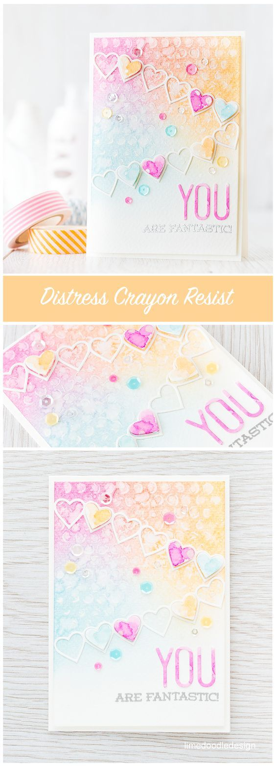 Distress Crayon resist with the new Distress Crayons from Tim Holtz. Find out more by clicking on the following link: http://limedoodledesign.com/2016/02/video-distress-crayon-resist/ card encouragement heart