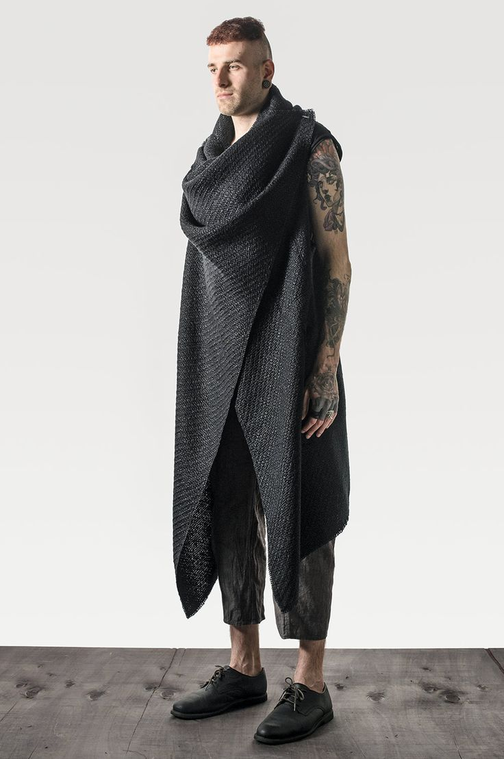 Elongated unisex black cloak