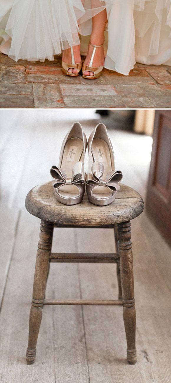 Zapatos plateados y dorados para bodas