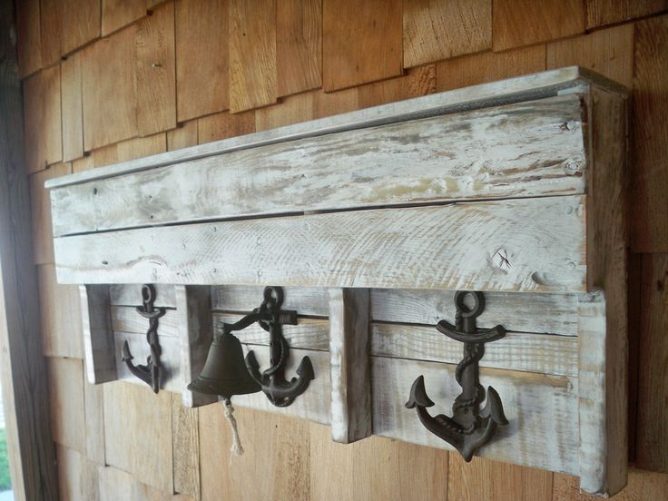 Nautical Boat Anchor And Bell Pallet Coat Rack And Shelf Part 84