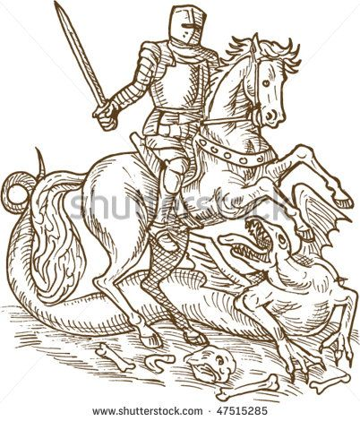 vector drawing of Saint George knight and the dragon done in black and white - stock vector #knight #sketch #illustration