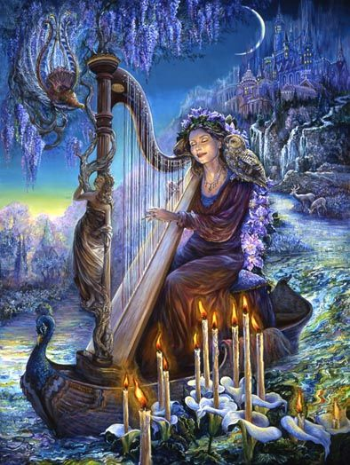 This is actually my real life friend Yvette pained by artist Josephine Wall (Yvette is a real harpist, too)