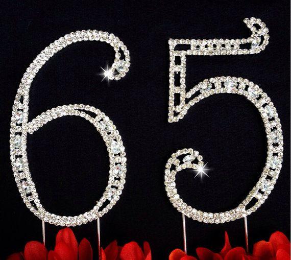 65th Birthday Wedding Anniversary Number Cake Topper  Large Rhinestone Crystals Cake Decorations
