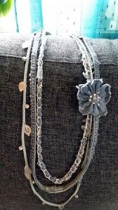 Upcycling: Halsband av gamla jeans mm. Bloggen Re-creating.se (återbruk)