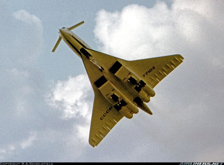 Tupolev Tu-144 Displaying at the Paris Air Show on the day before it crashed. This view shows the aircraft's elevons and canard control surfaces.