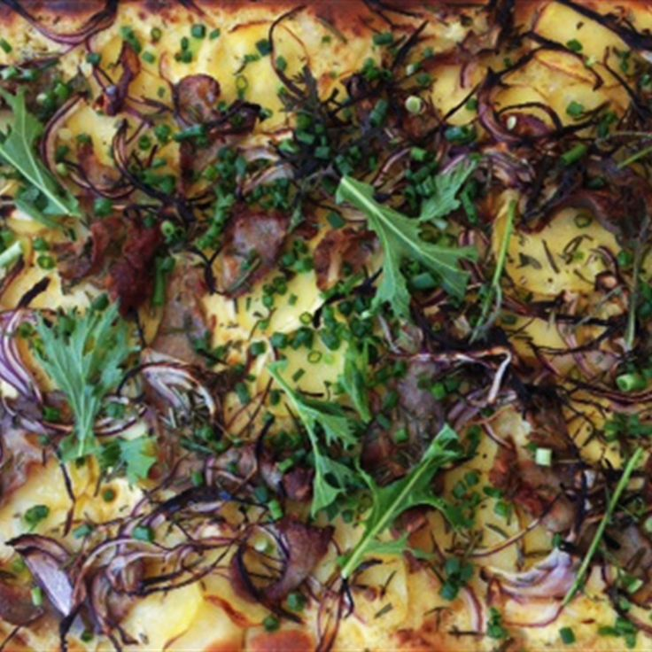 Try this Pizza with Potatoes, Rosemary, Creme Fraiche and Guanciale recipe by Chef Paul West . This recipe is from the show River Cottage Australia.