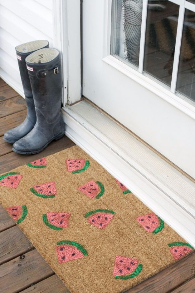 DIY Welcome Mats - Watermelon Welcome Mat - Greet Guests in Style with These Easy and Cheap Home Decor Ideas for Your Entry. Doormat Tutorials for Creative Ways to Cover Your Floors and Front Door http://diyjoy.com/diy-welcome-mats