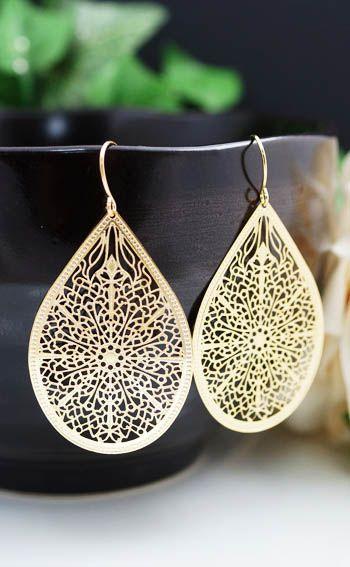 Oriental Style Filigree Dangle Earrings from EarringsNation
