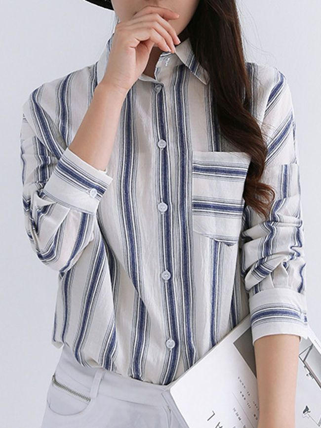 Turn Down Collar Patch Pocket Striped #blouses #style