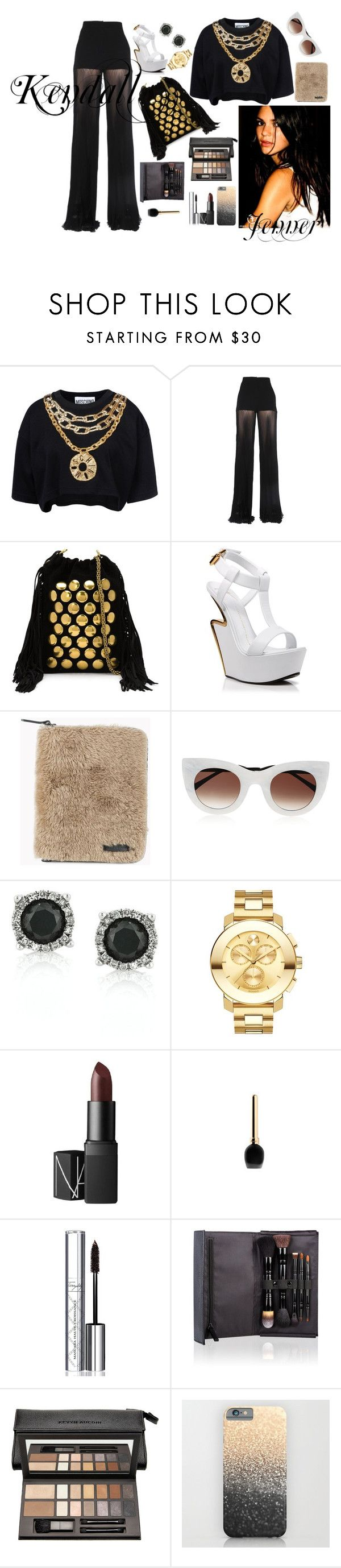 """""""Are You The Next Kendall?"""" by dinyvia on Polyvore featuring Moschino, Versace, Jérôme Dreyfuss, Giuseppe Zanotti, Brunello Cucinelli, Thierry Lasry, Mark Broumand, Movado, NARS Cosmetics and Guerlain"""