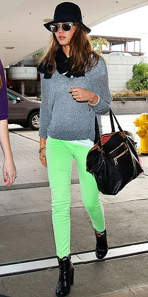 brights: Green Jeans, Celebrity, Fashion, Style, Clothes, Neon Green, Jessica Alba, Green Pants, Colored Jeans