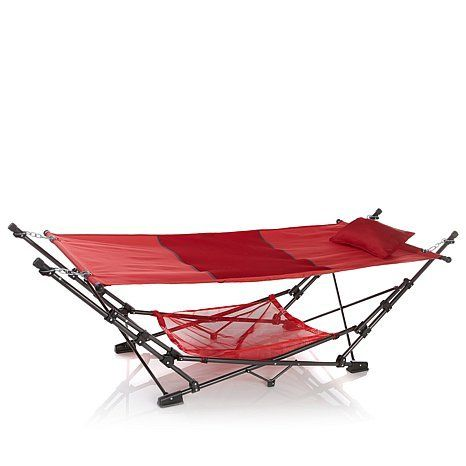 Porch Make Over  HGTV Home Hammock with Canopy and Pillow - Red * This is an Amazon Associate's Pin. Detailed information can be found on Amazon website by clicking the image.