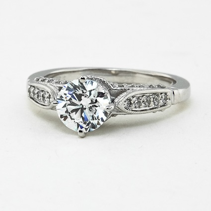 18K White Gold Heirloom Diamond Ring (1/4 ct.tw.), set with beyond conflict free .90ct. diamond.: Perfect Engagement Ring