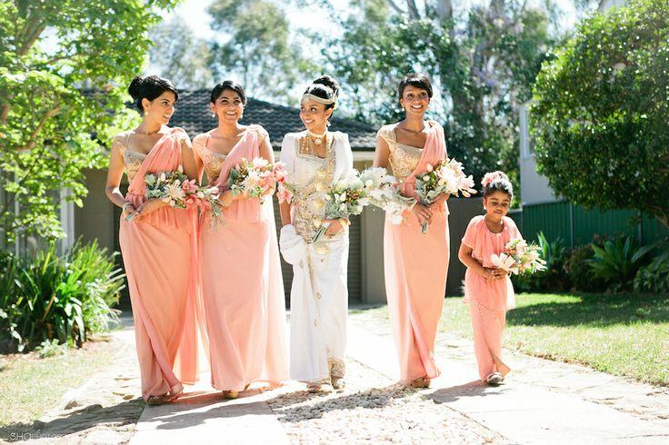 Helanis Peach and Gold Designer Kandyan Wedding - beautiful Kandyan sarees!