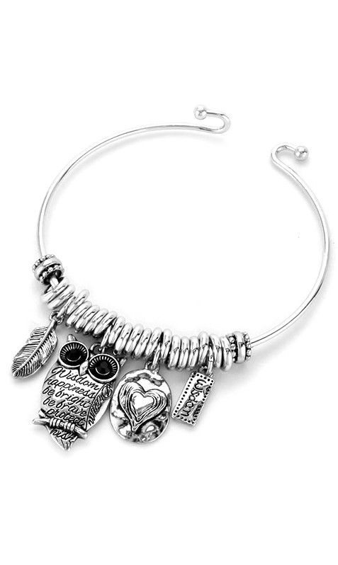 Engraved Owl Bracelet in Silver