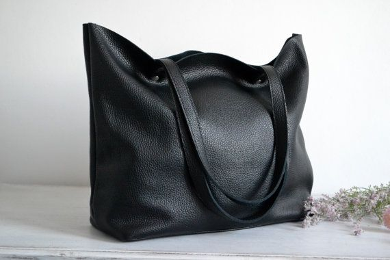 BLACK LEATHER Tote Bag Large Tote Bag Italian Pebbled by KadoBag