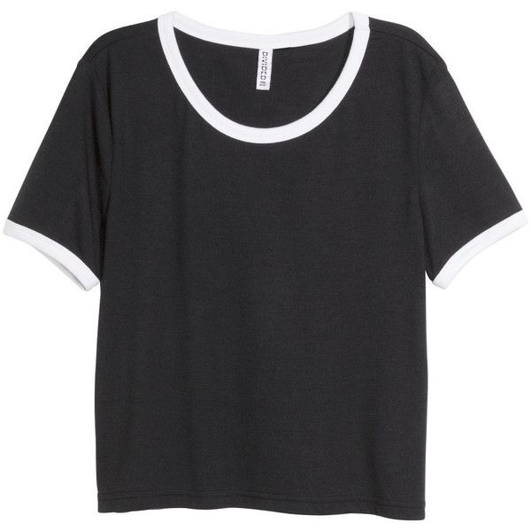 H&M Crop top ($11) ❤ liked on Polyvore featuring tops, t-shirts, shirts, crop top, black, t shirts, sleeve shirt, black shirt, crop t shirt and shirts & tops