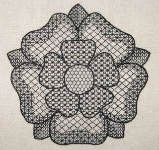 blackwork tudor rose 72dpi by RalRay Embroidery, via Flickr