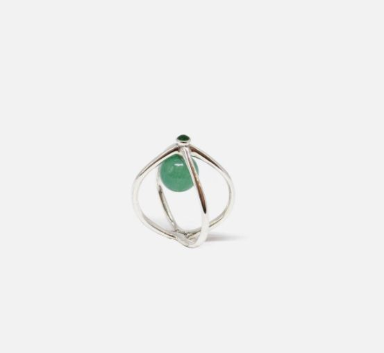 Precious jade & green enamels wired in silver sterling for un unusual way of enjoying this stone