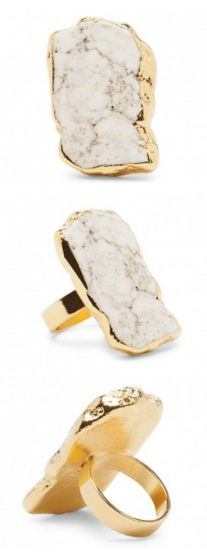 Natural white howlite stone ring held in 14k gold plated brass. Such a statement-making piece.