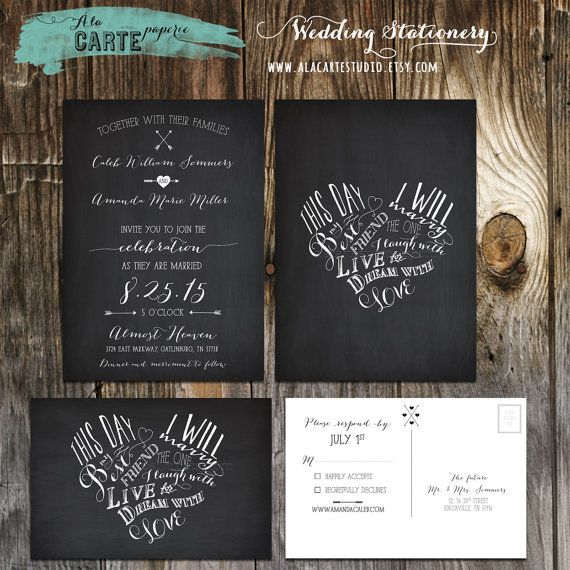 This day I will marry my best friend Chalkboard Inspired Wedding Invitation Card and RSVP postcard on Etsy, $30.00