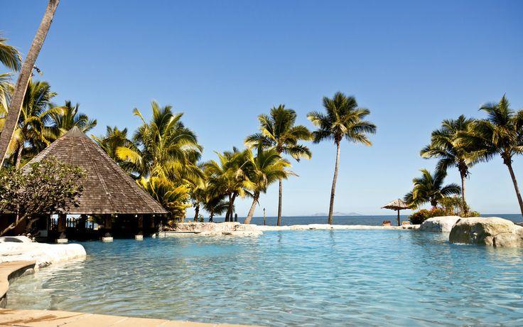 Palm ağaçlar, güneş, fiji Adaları, Pasifik Okyanusu, plaj, havuz, tatil, cennet, cennet vektör