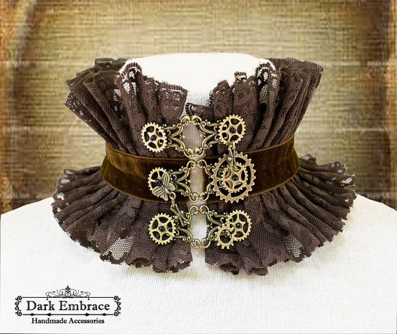 Steampunk brown lace choker -steampunk choker-lace choker-choker-gothic choker-steampunk accessories-victorian lace choker on Etsy, $67.08