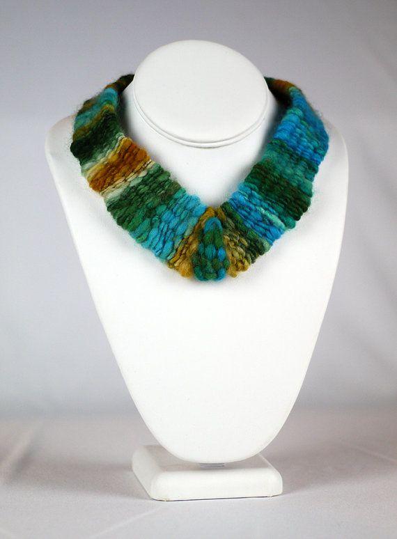 Woven Variegated Wool Choker $46 by CorbeauxPDX on Etsy