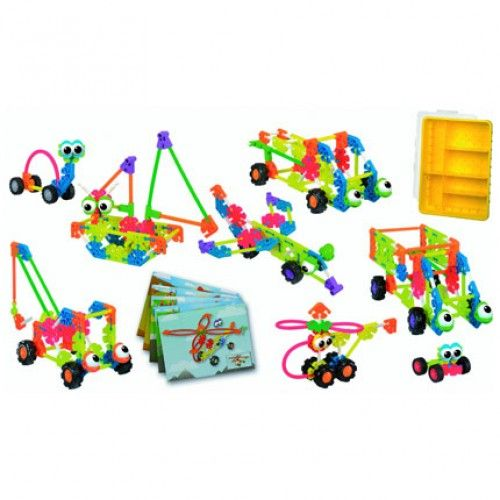 Kid Knex Vehicle Set - Assemble models of wacky cars, trucks and diggers. There are enough pieces to construct all 9 models using the actual size building cards. • Construction kit for up to 8 children • Double-sided building cards • 229 pieces