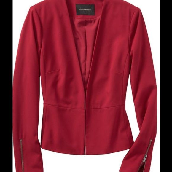 "Beautiful Red Peplum Blazer ! ❤️ ❤️ Beautiful red peplum blazer ! Color "" Firebrick "" ! Hook and bar closure ! Exposed zip- closure cuffs ! Inverted back pleat ! Small shoulder pads inside lining ! Fully lined ! Machine wash ! Beautiful ! ❤️ I have in different sizes ! ❤️❤️ Banana Republic Jackets & Coats Blazers"