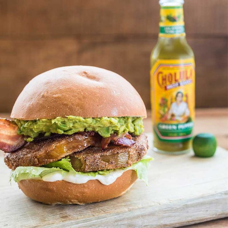 A lovely marriage of two classics: the bacon, lettuce, tomato sandwich using fried green tomatoes and bound with Cholula® Green Pepper for extra flavor and punch.