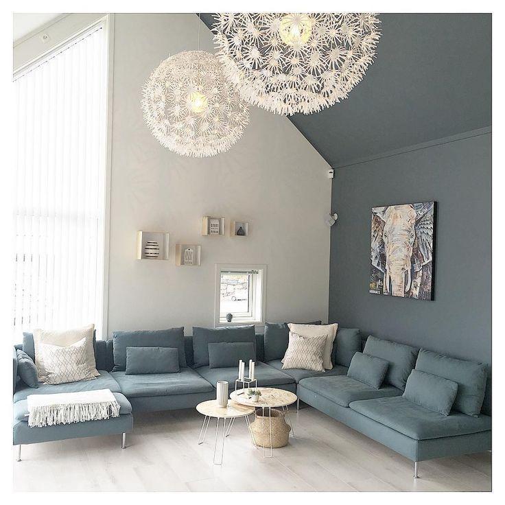Ikea 'Söderhamn' sofa & 'Maskros' pendant lamps @mykindofpretty_