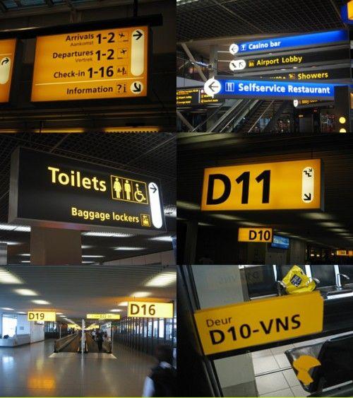 Frutiger Signs at Schiphol Airport
