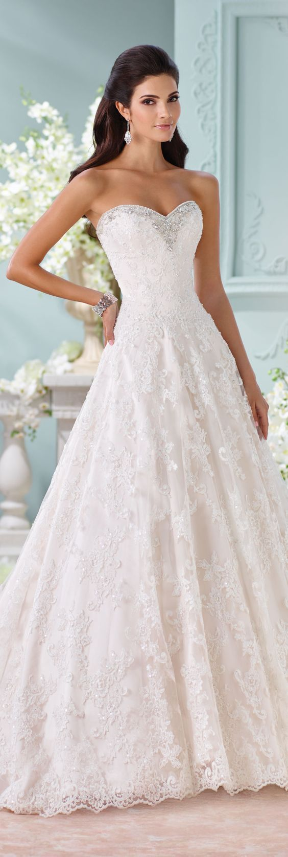 David Tutera for Mon Cheri Spring 2016 Sweetheart A-line Wedding Dress #weddingdress
