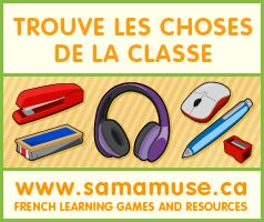 Listen to the word in French and find the matching object. Écoute le mot en français et trouve l'article scolaire correspondant. www.samamuse.ca