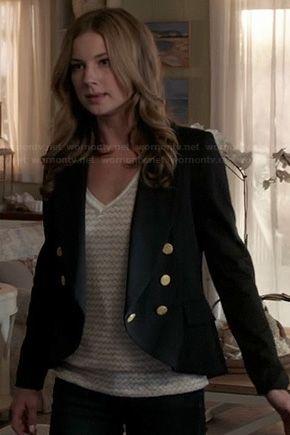 Emily's black military style jacket on Revenge.  Outfit Details: http://wornontv.net/20609/ #Revenge