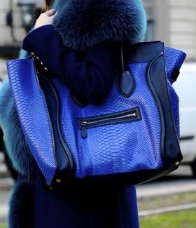 Celine Blue Python Mini Luggage Bag