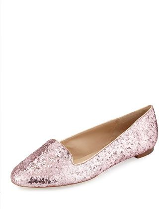 trick glittered smoking slipper, rose gold by Kate Spade at Neiman Marcus.  Shoes for Andrea's Wedding!