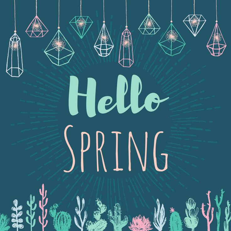 Hello Spring social media greeting template with crystal sparkle lights and succulent plants. Created by ArtnerDluxe in Canva. Customize your own version @ https://www.canva.com/artnerdluxe. Art elements © ArtnerDluxe www.artnerdluxe.com