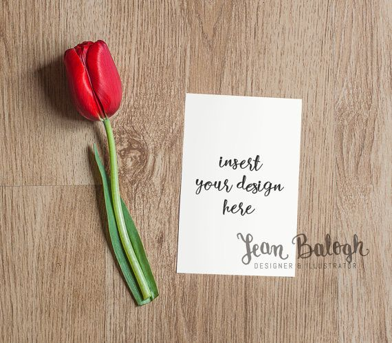 Medium Sized Vertical Invitation Card Mockup With A by JeanBalogh