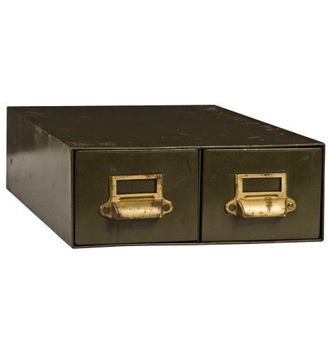 Industrial 2-Drawer Steel Filing Cabinet c1935